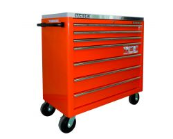 Bahco 1475KXL7PSPTSS 7 drawer extra large capacity trolley-stainless steel top -Orange Stainless