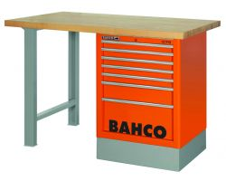 Bahco 1495K8CBLWB18TW Workbench 8Dr Blue Wooden Top with side drawer tower