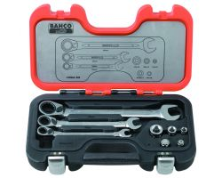 Bahco 1RMA/S8 Combination Ratcheting Wrench Set, 8-Piece, With Adapters