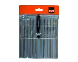 "Bahco 2-472-16-0-0 Needle File Set, 12-Piece, 160mm, In Plastic Pouch|Fileset, 16"", 12-Piece"