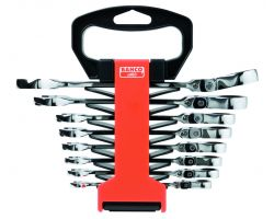 Bahco 41RM/SH8 Combination Ratcheting Wrench Set, 8-Piece, Swivel Head, 8-19mm