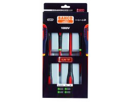 Bahco BE-9880SL ERGO™ Insulated screwdriver set with SLIM blades, 4 piecesSdr  Set Slim Blades, 4Pcs