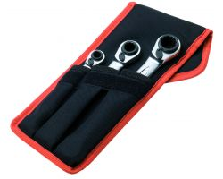 Bahco S4RM/3T Four Sizes Ratcheting Wrench Set, 3-Piece, In Pouch To Wear On Belt