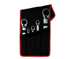 Bahco S4RM/5T Four Sizes Ratcheting Wrench Set, 5-Piece, In Pouch To Wear On Belt