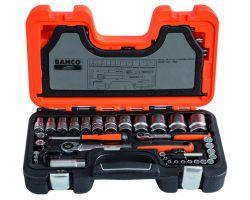 "Bahco S560 Socket Set 1/2""+1/4"", 56-Piece"