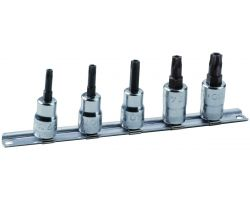 "Bahco 7409TORX-TRR/S5 3/8"" socket set with 5 pieces of ref 7409TORX-R, tamper resistant, on Rail-187."