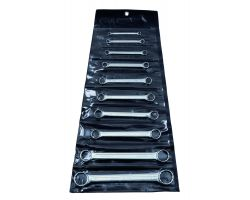Bahco 4M/10T Double Ring-End Wrench Set, 10-Piece, Straight, 12-Point, In Pouch