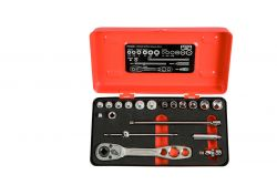 Bahco R6725ZK Socket Set 1/4, For Refrigreration, 19 piece