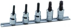 """Bahco 7409TORX-TRR/S5 3/8"""" socket set with 5 pieces of ref 7409TORX-R, tamper resistant, on Rail-187."""