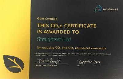 Straightset has been certified as a Gold Fleet by Masternaut for reducing CO2 emissions