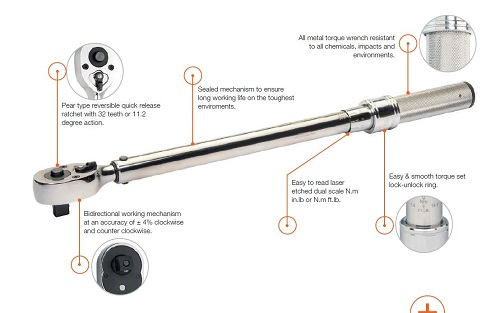 Bahco Click torque wrench with marked scale